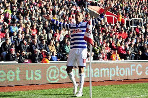 Queens Park Rangers' striker Loic Remy celebrates scoring a goal in Southampton, southern England, on March 2, 2013