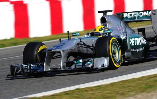 Mercedes British driver Lewis Hamilton drives at Catalunya's racetrack in Montmelo, near Barcelona on March 2, 2013