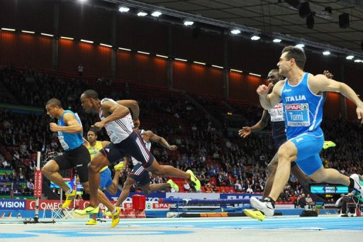 L-R: France's Jimmy Vicaut, Great Britain's James Dasaolu & Italy's Michael Tumi compete in the Men's 60m, March 2, 2013