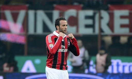 AC Milan's forward Giampaolo Pazzini celebrates after scoring on March 2, 2012 at San Siro Stadium in Milan