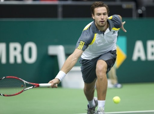 Latvian qualifier Ernests Gulbis, pictured in action on February 12, 2013