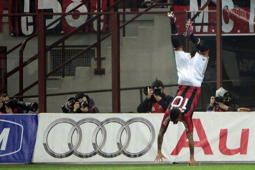 AC Milan's defender Prince Kevin Boateng celebrates after scoring on March 2, 2012 at San Siro Stadium in Milan