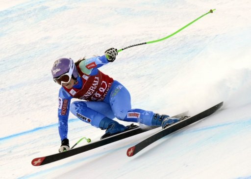 Tina Maze of Slovenia during the FIS Alpine World Cup in February 24, 2012, in the French ski resort of Meribel