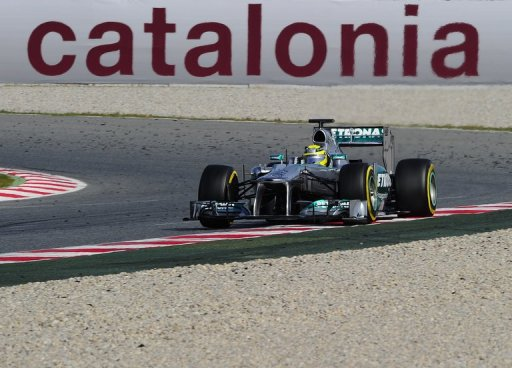 Nico Rosberg drives during the Formula One test days at Catalunya's racetrack in Montmelo on March 3, 2013