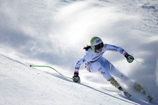 Anna Fenninger competes during the FIS World Cup Women's Super G competition in Garmisch-Partenkirchen on March 3, 2013
