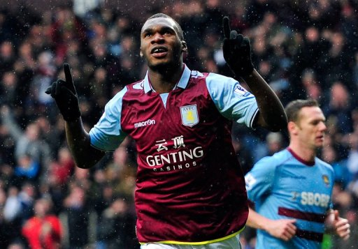 Aston Villa's Christian Benteke is pictured during their Premier League match against West Ham on February 10, 2013