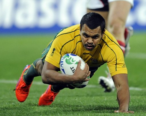 Kurtley Beale scores a try during the 2011 Rugby World Cup match against the US at Wellingtonon September 23, 2011
