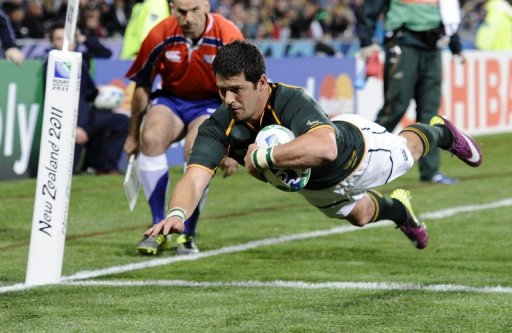 Morne Steyn scores a try during the 2011 Rugby World Cup match against Namibia in Auckland on September 22, 2011