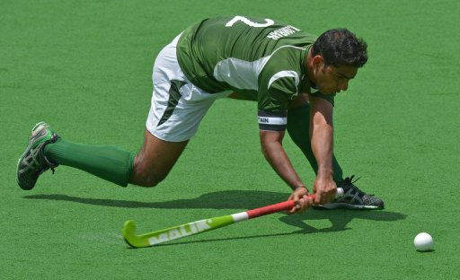 Muhammad Imran plays during a quarter final match at the Hockey Champions Trophy in Melbourne on December 6, 2012