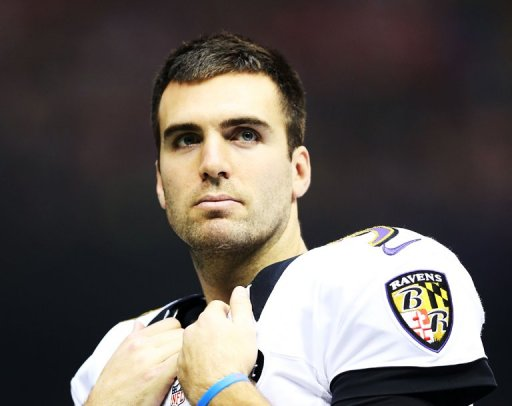 Joe Flacco looks on during a power outage at the Super Bowl on February 3, 2013 in New Orleans