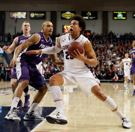 Elias Harris of the Gonzaga Bulldogs drives to the hoop on March 2, 2013 in Spokane, Washington