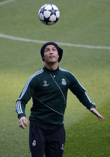 Real Madrid forward Cristiano Ronaldo is pictured during a training session in Manchester on March 4, 2013