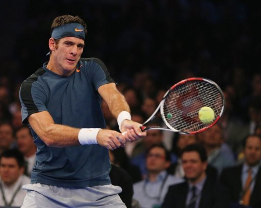 Juan Martin Del Potro is pictured during an exhibition match against Rafael Nadal in New York on March 4, 2013