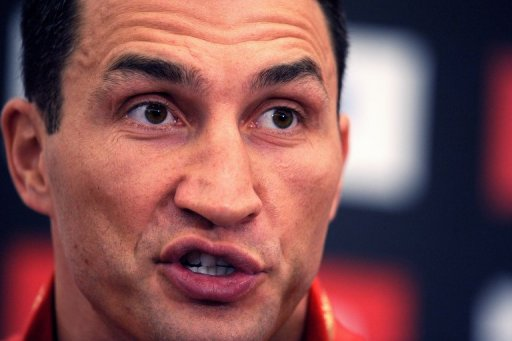 Wladimir Klitschko answers questions during a press conference in Duesseldorf, on February 27, 2012