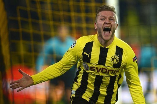 Dortmund's Jakub Blaszczykowski reacts after scoring  in Dortmund on March 5, 2013