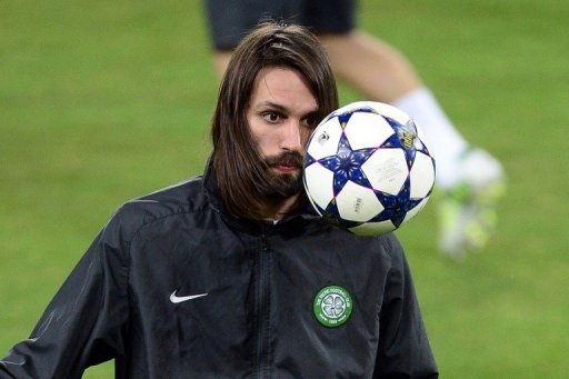 Celtic forward Giorgios Samaras looks at the ball during a training session in Turin on March 5, 2013