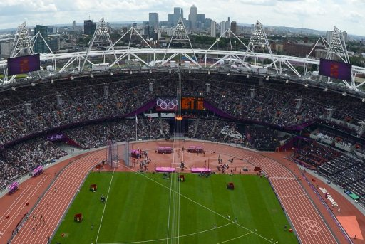 View of the athletics event at the Olympic stadium during the London 2012 Olympic Games on August 3, 2012