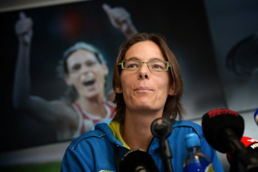 Tia Hellebaut holds a press conference in Paal on March 6, 2013