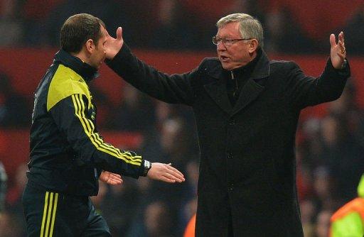 Alex Ferguson (R) reacts after Nani was sent off at Old Trafford on March 5, 2013