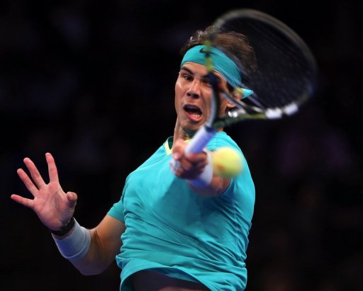 Rafael Nadal returns a shot on March 4, 2013 at Madison Square Garden in New York City