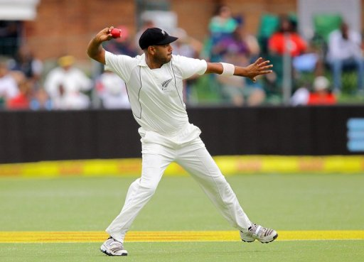Jeetan Patel of New Zealand fields at the Axxess St George Port cricket stadium, on January 12, 2013 in Port Elizabeth