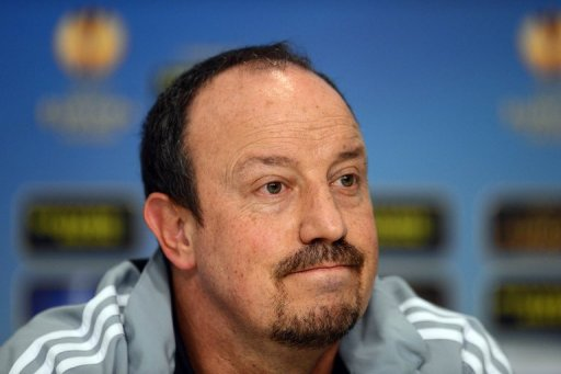 Rafael Benitez gives a press conference on March 6, 2013, the eve of the Europa League match with Steaua Bucharest
