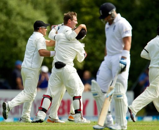 New Zealand celebrate the wicket of Matt Prior as the Kiwis bowled out England for 167 on March 7, 2013