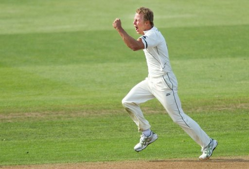 New Zealand's Neil Wagner celebrates the wicket of Kevin Pietersen during the Test against England on March 7, 2013