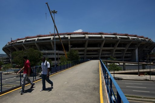 General view of the Maracana stadium during renovation works, in Rio de Janeiro on December 5, 2012