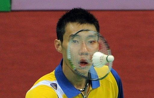 Malaysian badminton player Lee Chong Wei returns a shot in New Delhi on April 28, 2012