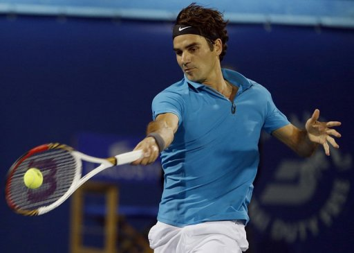 Roger Federer is pictured during his ATP Dubai Open semi-final match against Tomas Berdych on March 1, 2013