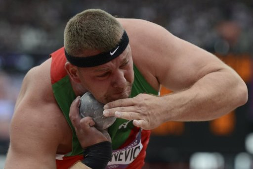 Andrei Mikhnevich competes in the men's shot put during the London 2012 Olympic Games on August 3, 2012