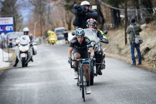 Richie Porte competes during the last summit of the fifth stage of the 71st Paris-Nice cycling race on March 8, 2013