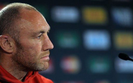 Wales' forwards coach Robin McBryde gives a press conference in Auckland on October 14, 2011