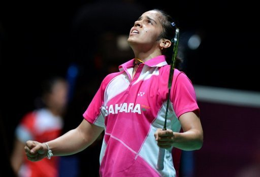 India's Saina Nehwal reacts after winning against China's Wang Shixian in Birmingham, central England, on March 8, 2013