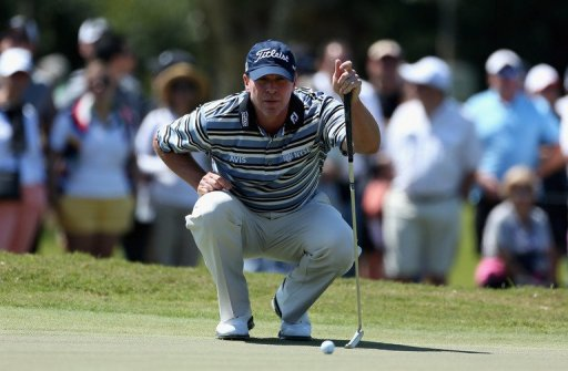 Steve Stricker of the US lines up a putt on March 8, 2013 in Doral, Florida