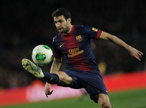 Barcelona midfielder Cesc Fabregas during the Spanish Cup semi-final second leg against Real Madrid on February 26, 2013