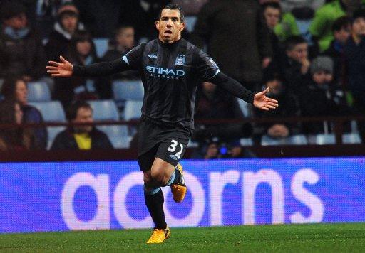 Manchester City striker Carlos Tevez celebrates scoring against Aston Villa on March 4, 2013