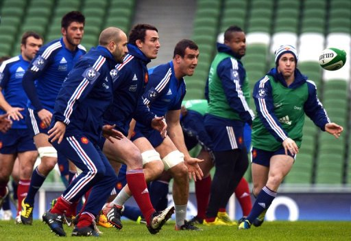 France's rugby union national team players attend a training session at the Aviva stadium in Dublin, on March 8, 2013