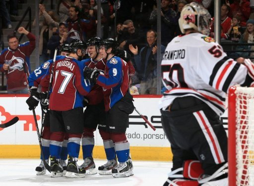 The Colorado Avalanche celebrate a goal against the Chicago Blackhawks on March 8, 2013 in Denver