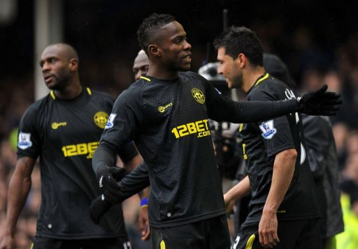 Wigan's Maynor Figueroa celebrates a goal in the FA Cup quarter-final against Everton in Liverpool on March 9, 2013