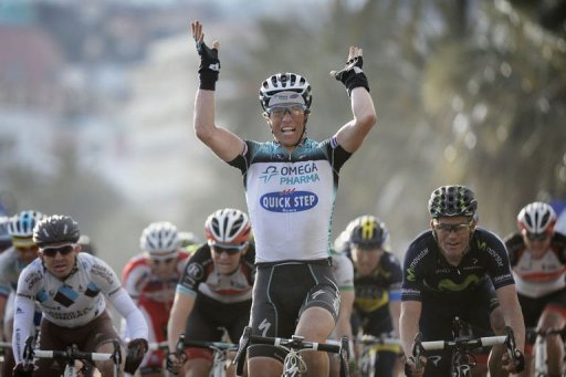 Omega Pharma-Quick Step French cyclist Sylvain Chavanel celebrates as he wins the sixth stage on March 9, 2013 in Nice
