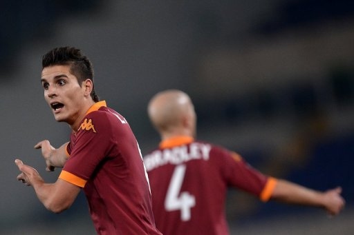 Roma's forward Erik Lamela reacts during a match on Febuary 1, 2013