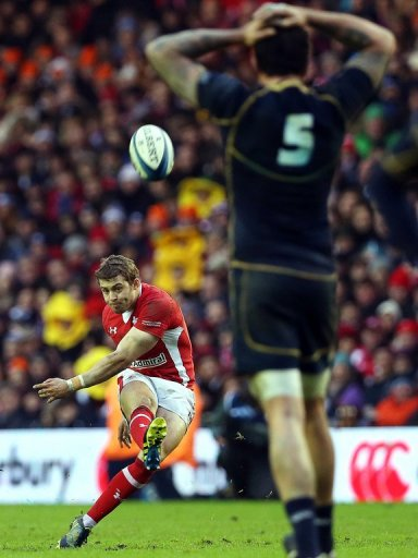 Leigh Halfpenny of Wales kicks a penalty during the Six Nations international at Murrayfield on March 9, 2013