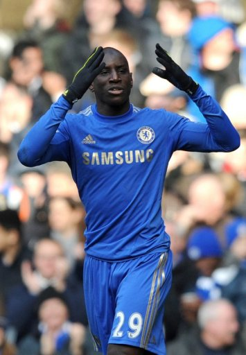 Chelsea striker Demba Ba in action against  West Bromwich Albion on March 2, 2013