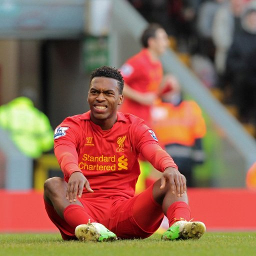 Liverpool striker Daniel Sturridge reacts after missing a chance against Swansea City on February 17, 2013