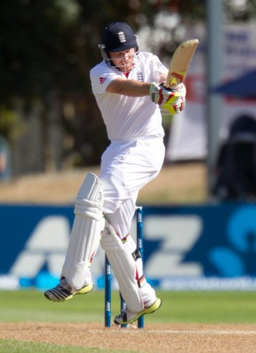 England's Ian Bell bats against New Zealand at the University Oval in Dunedin on March 10, 2013