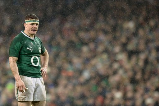 Brian O'Driscoll reacts during the Six Nations rugby match against France in Dublin on March 9, 2013