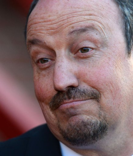 Chelsea's interim manager Rafael Benitez takes his seat at Old Trafford, Manchester, on March 10, 2013