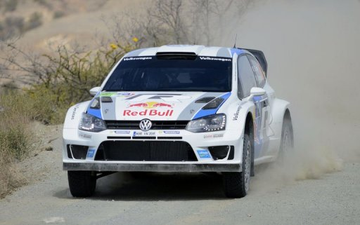 French driver Sebastien Ogier competes during the second day at the Speedway of Huanimaro on March 9, 2013